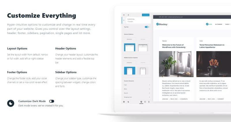 Blocksy Theme - Core Customization Options