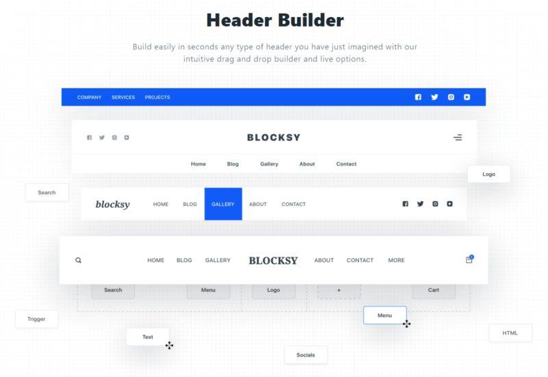 Blocksy Theme - Header Builder Options