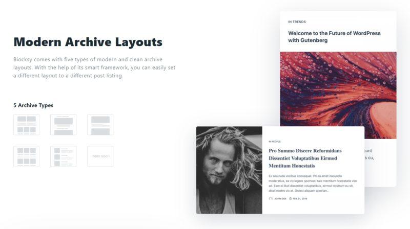 Blocksy Theme - Modern Archive Layouts Options